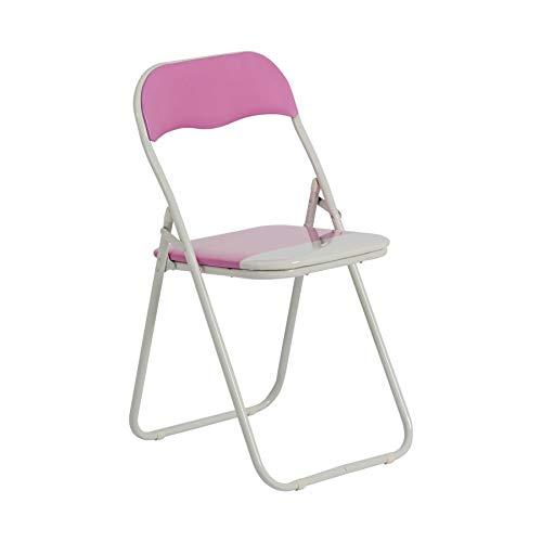 Chaise pliante rembourrée - pour le bureau - rose/blanc