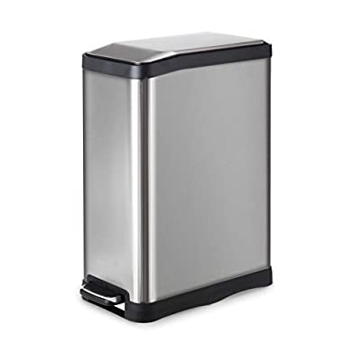 Home Zone Stainless Steel Kitchen Trash Can with Rectangular Design and Step Pedal | 45 Liter / 12 Gallon Storage with Removable Plastic Trash Bin and Rubber Liner, Silver