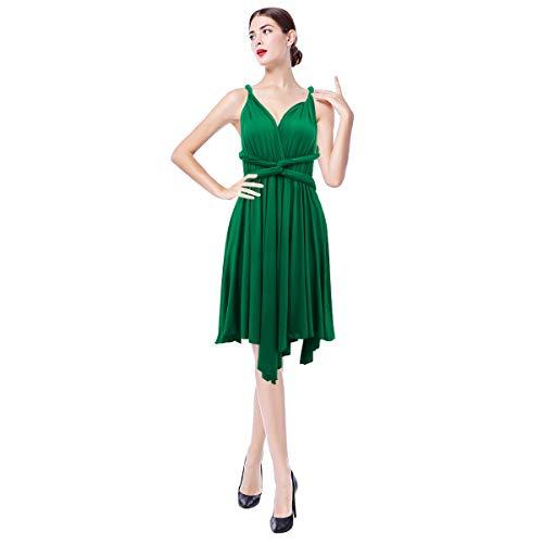 FYMNSI Damen Multiway Kleid Hochzeitskleid Asymmetrisches Brautjungfer Brautkleid V-Ausschnitt Rückenfrei Neckholder Abendkleid Elegant Cocktailkleid Einfarbig Ärmellos Kurzes Partykleid Grün XL