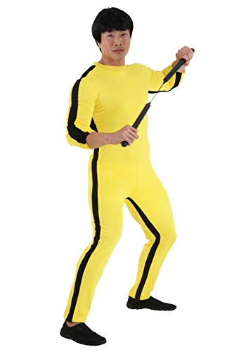 Bruce Lee Costume with Wig X-Large Yellow