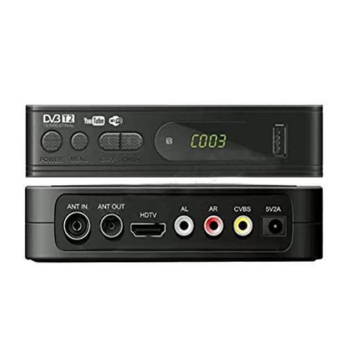 SIGNABOT Sintonizador de TV DVB T2 USB2.0 TV Box HD 1080P DVB-T2 Sintonizador Receptor Decodificador de SatéLite para Adaptador de Monitor (Enchufe de la UE)