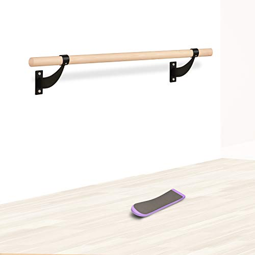 Ballet Barre Wall Mounted Barre Bar with Turning Board Thick Mount Brackets Locking Screw 1.5 Inch Dia 4ft Long Wooden Bar for Home Dance Studio Gym Workout Ideal for Adults Kids Girls