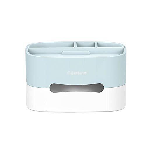Dispensador de toallas Caja del dispensador de tejido facial con la parte superior como soporte del teléfono, la caja dispensadora de tejido con función de almacenamiento se puede usar en la sala de e