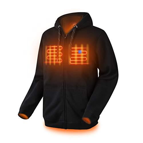 Dr.Qiiwi Mens Full Zip Fleece Sweatshirt Heated Hoodies for Women with Hood (Black, L)