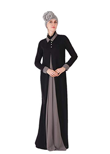 HZUX Vintage Muslim Women's Long Dress Button Front Women Dubai Dress Kaftan Abayas Black