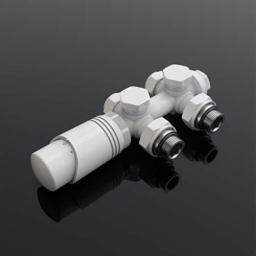 SONNI Multiblock Set für Heizkörper Anschlussarmatur inkl. Thermotstat Hahnblock Ventil Heizungszubehör Eck- und Durchgangsform weiß