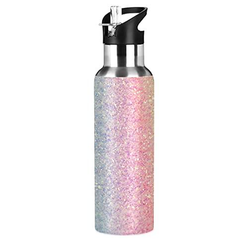 Rainbow Glitter Gradient Sport Water Bottle with Straw Lid Leakproof Kids...