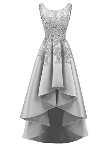 JAEDEN Abendkleider Ballkleider Damen Hochzeitskleider Spitze Partykleider Brautkleider Vorne Kurz Hinten Lang Satin Grau EUR38