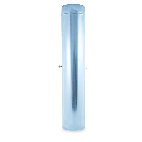 Tubo Liso con llave 1 metro acero galvanizado para sistemas de ventilación y extracción, chimeneas y estufas de leña y pellet, autoconectable (120 mm)