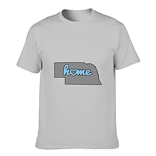 YCNJJB Camiseta de algodón para hombre, diseño de mapa de Nebraska, divertida y elegante, con estampado de Estados Unidos