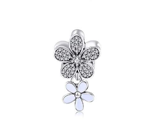 FeatherWish Charm-Anhänger Gänseblümchen mit Blume Sterling-Silber 925 für Pandora-Armband