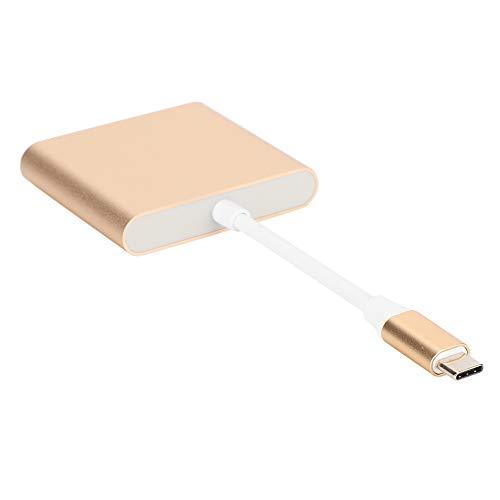 Adaptador 3 em 1 tipo C, divisor de conversor, cabo conversor de definição ultra-alta, taxa de transferência de dados de mouse com efeito de exibição de vibração(Golden)