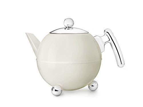 Bredemeijer 7304WC doppelwandige Teekanne Duet Bella Ronde 1.2 Liter, weiß glänzend chromfarbene Beschläge
