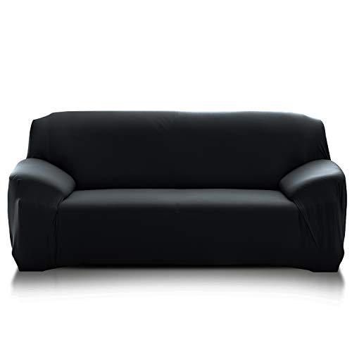 PETCUTE Fundas de sofá elasticas Protector de sofá Funda Elastica Chaise Longue Cubre Sofa Elastico Funda Sillon Negro 2 plazas