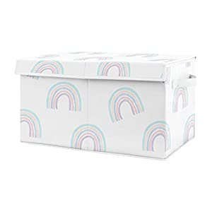 Sweet Jojo Designs Pastel Rainbow Girl Small Fabric Toy Bin Storage Box Chest for Baby Nursery or Kids Room – Blush Pink, Purple, Teal, Blue and White