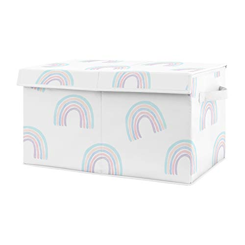 Sweet Jojo Designs Pastel Rainbow Girl Small Fabric Toy Bin Storage Box Chest for Baby Nursery or Kids Room - Blush Pink, Purple, Teal, Blue and White
