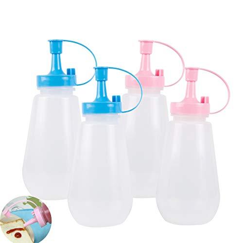 ThreeH Botellas plásticas de 4 Paquetes con Tapas Botella de Salsa de Cocina para Salsa de Barbacoa Condimentos Aderezo para ensaladas 9 oz