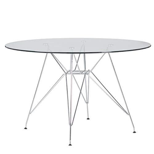 SKLUM Mesa de Comedor en Acero y Cristal (Ø120 cm) Scand Brich Metalizada Acero - Cristal Brillante Cromado - (Elige Color)