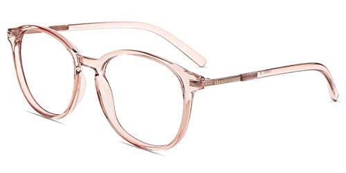 Firmoo Blaulichtfilter Computer Brille, Anti Blaulicht Runde Retro Nerdbrille Vollrand Gaming Brille in Pantoform ohne Sehstärke Augenschützen vor UV HEV-Licht für Frauen Männer (Pink)