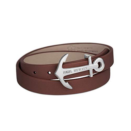 PAUL HEWITT Wickelarmband North Bound aus Leder in Braun und Anker aus Edelstahl in Silber Armband-Länge 42,5 cm