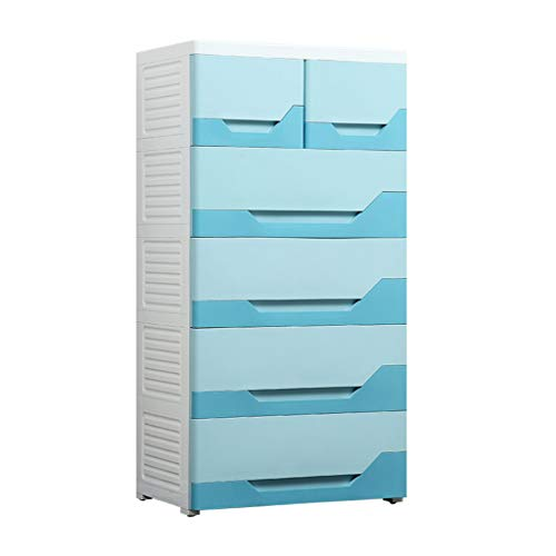Zzg-2 Plastic Chest of Drawers, Bedroom Clothing Book Locker Bedside Table Living Room Kitchen Toy Storage Box, 5840113CM (Color : Blue)