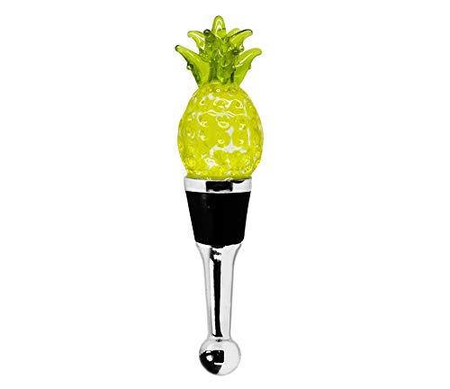 EDZARD Flaschenverschluss Ananas für Champagner, Wein und Sekt, Höhe 11 cm, Muranoglas-Art, Handarbeit