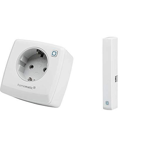 Homematic IP Smart Home Schaltsteckdose – smarte Steckdose mit kostenloser App und Sprachsteuerung über Amazon Alexa & Smart Home Fenster- und Türkontakt, optisch – Smarte Überwachung der Fenster