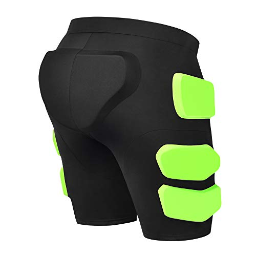 Gonex Protective Padded Shorts for Snowboard Ski Skate, 3D Protection Padded Skating Shorts, 2 cm Thicken EVA for Hip, Butt and Tailbone Impact Pads Shorts L