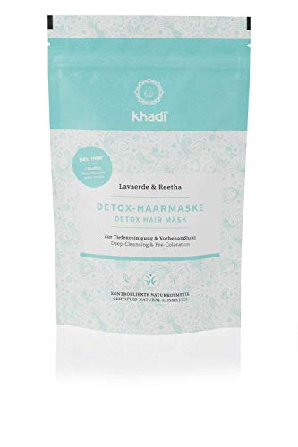 khadi Detox-Haarmaske 150g I Pflanzliche Haarmaske mit Lavaerde & Reetha I Zertifizierte Naturkosmetik 100% natürlich und vegan