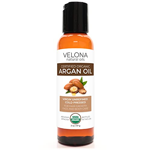 Argan Oil by Velona - 2 oz | 100% Pure and Natural Carrier Oil | Refined, Expeller Pressed | Skin, Hair, Body & Face Moisturizing | Use Today - Enjoy Results