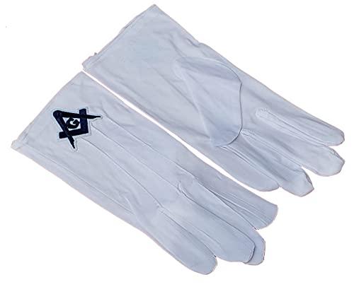 DEURA Freemason Mason Masonic White Gloves Blue Lodge Embroidered G Logo Square & Compass
