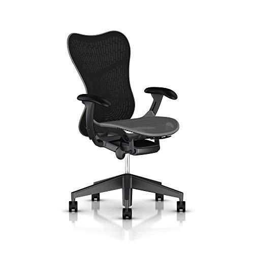 Herman Miller Mirra 2 Task Chair: Tilt Limiter - Adjustable Seat - Adjustable Lumbar Support - Butterfly Back - Adjustable Arms - Graphite Frame/Base - Hard Floor Casters (Renewed)