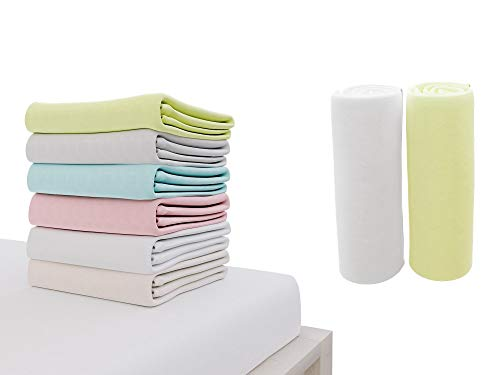 Set of 2 Jersey Cotton Fitted Sheets 60x120cm, for Baby Bed, Certified Free from Chemical Products (OEKO TEX), White and Green, Pocket 12 cm - Fitted Sheets with Elastic - For 60 x 120 cm Mattresses
