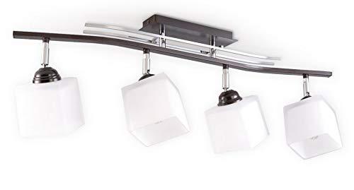 Sollux Lighting Punto 4 Plafonnier en acier Marron Blanc Chrome