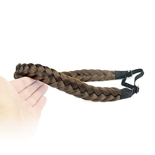 DIGUAN 2 Strands Synthetic Hair Braided Headband Classic Chunky Plaited Braids Elastic Stretch Hairpiece Women Girl Beauty accessory, 54g Boho (Dark Brown)