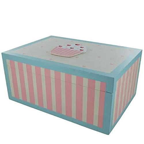 Global Design Concepts Cupcake Trinket Recipe Box Petto Memoria Scatola di Legno, Scatola dei ricordi Crema F0364