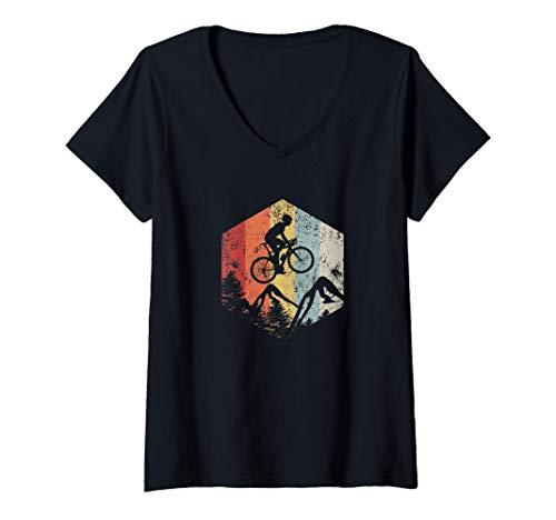 Femme Mountain Bike, Bicycle, Cycling, Cadeau d'anniversaire T-Shirt avec Col en V
