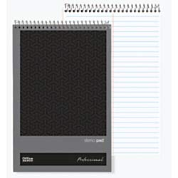 Office Depot Brand Professional Steno Books, 6' x 9', Gregg Ruled, 70 Sheets, 140 Pages, Black, Pack of 12
