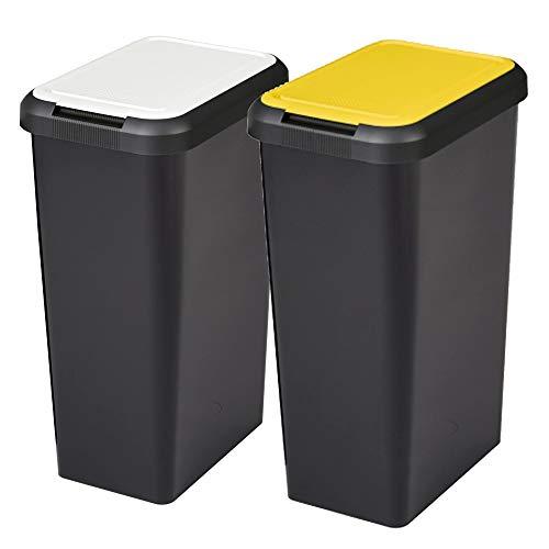 Set 2 Cubos de Reciclaje Touch&Lift 90 litros Color Negro con Tapa, Doble Amarillo/Blanco