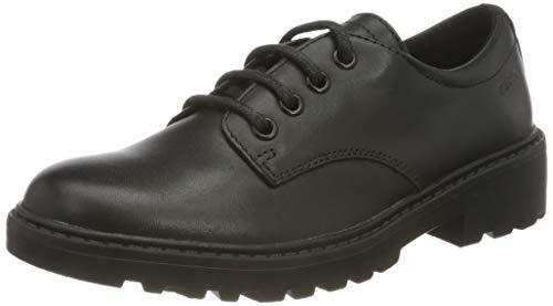 Geox J Casey Girl J0420C000HH, School Uniform Shoe para Niñas, (Black), 39 EU