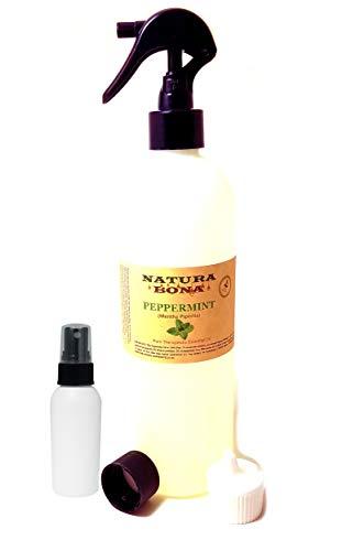 Pure Peppermint Essential Oil Spray - (17.2 oz Trigger Sprayer, Travel Cap, Flip Top Dispenser, 2oz Empty Sprayer Bottle)