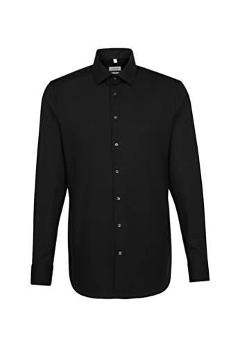 Seidensticker Herren Business Hemd Slim Fit – Bügelfreies Businesshemd, Schwarz (Schwarz 39), (Herstellergröße: 39)