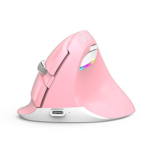 Bluetooth Vertical Mouse M618 Mini 2.4Ghz Computer Wireles Mice 2400DPI Ergonomic Rechargeable Noiseless Gaming Mice for PC MAC (Pink)