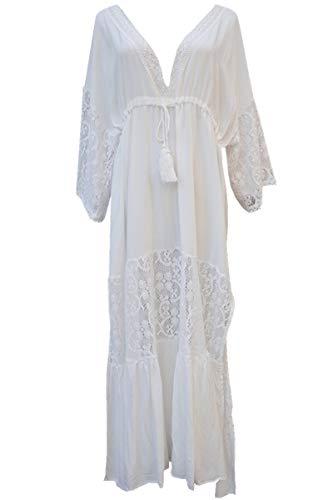 L-Peach Damen Spitze Blumen V-Ausschnitt Langes Kleid Strandkleid Pareo Cover ups One Size