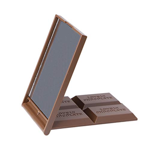 MB-LANHUA Mignon Chocolat en Forme de Cookie Carré Maquillage Mirro Pocket Miroir Mini Pliable Miroir De Maquillage Café Clair