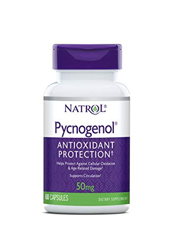 Natrol Pycnogenol Capsules, Antioxidant Protection, Protects Against Cellular Oxidation and Age-Related Damage, European Maritime Pine Bark Extract, Supports Circulation, 50 mg, 60 Count