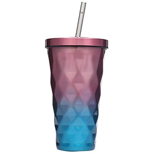 Cestbon Trinkbecher Mit Strohhalm Edelstahl Thermo Kaffeebecher to Go 500Ml Kaffeetassen Für Frauen-Mädchen-Männer,Lila