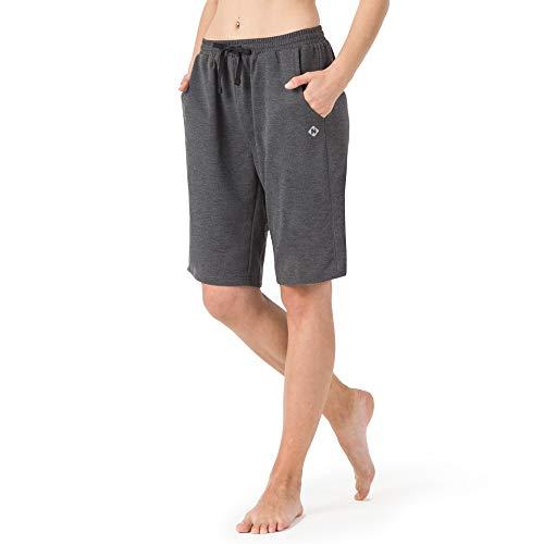 NAVISKIN Pantaloncini Sportivi Donna Yoga, Bermuda Fitness Donna con Due Tasche Grandi, Traspirante e Comodo per Palestra e Allenamento, Casa e Uffici