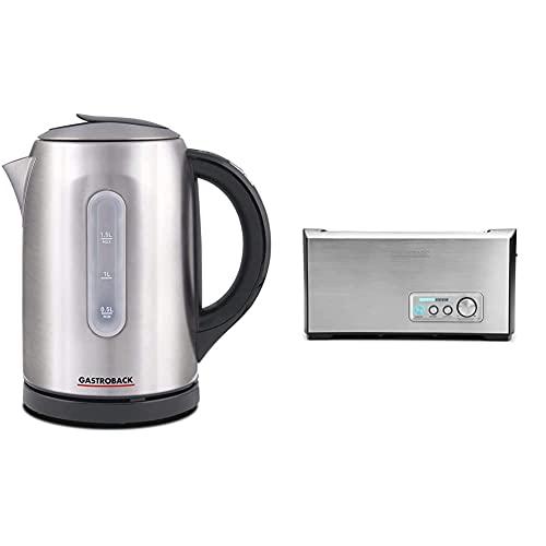 Gastroback 42427 Colour Vision Pro, optische, farbige Temperaturanzeige, Kalkfilter, Warmhaltefunktion Wasserkocher, 18/8 Edelstahl, 1.5 liters, edelstahldesign & 42398 Toaster (1500 Watt) edelstahl