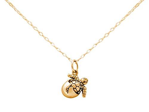 Gemshine Maritim Nautics Halskette mit Baby Schildkröte aus 925 Silber, hochwertig vergoldet oder rose im Navy Stil - Nachhaltiger, Qualitätsvoller Schmuck, Metall Farbe:Silber vergoldet